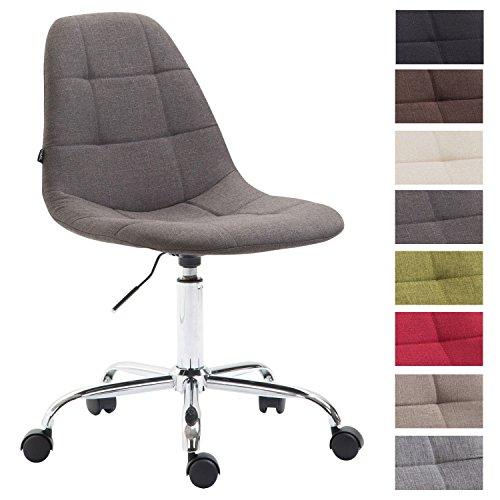 Bürostuhl Reims Mit Stoffbezug I Schreibtischstuhl Mit Gestepptem Sitz I Höhenverstellbarer Arbeitsstuhl Mit Metallgestell, Farbe:dunkelgrau