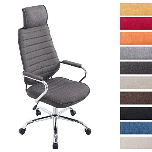 Bürostuhl RAKO mit hochwertiger Polsterung und Stoffbezug | Höhenverstellbarer Chefsessel mit Armlehnen, Farbe:dunkelgrau