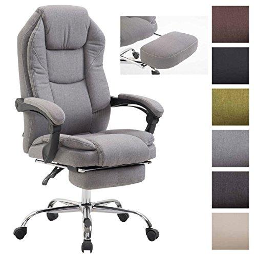 Bürostuhl Castle Mit Stoffbezug Und Polsterung I Ergonomischer Bürosessel Mit Ausziehbarer Fußablage, Farbe:grau