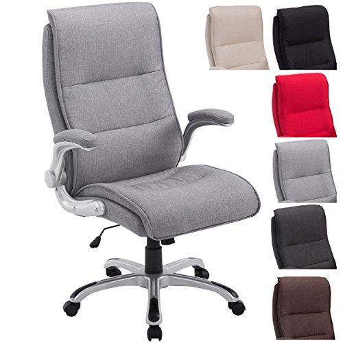 Bürostuhl XXL Villach mit Stoff-Bezug, max. belastbar bis 150 kg, Armlehnen klappbar, höhenverstellbar 45-53 cm, Kunststoff-Gestell, Farbe:hellgrau
