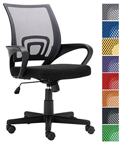 CLP Bürostuhl Genius mit Netzbezug   Höhenverstellbarer Drehstuhl mit Laufrollen und Armlehne Grau