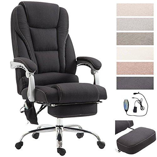 Chefsessel Pacific Stoff mit Massagefunktion l Höhenverstellbarer Bürostuhl mit ausziehbarer Fußablage l Max. belastbar bis 150 kg, Farbe:schwarz