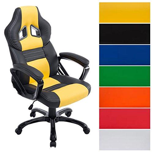 Racing Bürostuhl Pedro XL I Höhenverstellbarer Chefsessel Mit Polsterung Und Kunstlederbezug I Gaming Stuhl Mit Bis 150 KG Belastbarkeit, Farbe:schwarz/gelb