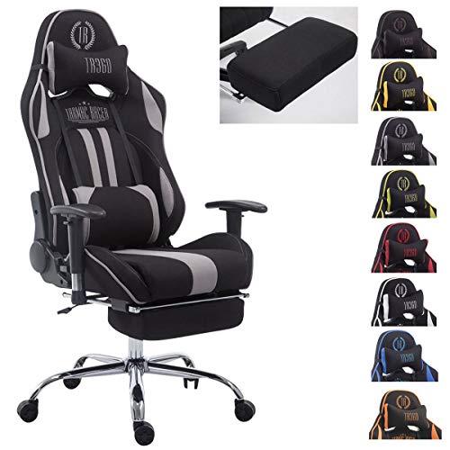 CLP Bürostuhl XL Limit I Gamingstuhl Mit Stoffbezug Und Metallgestell I Höhenverstellbarer Schreibtischstuhl Mit Laufrollen, Farbe:schwarz/grau, Fußablage:mit Fußablage