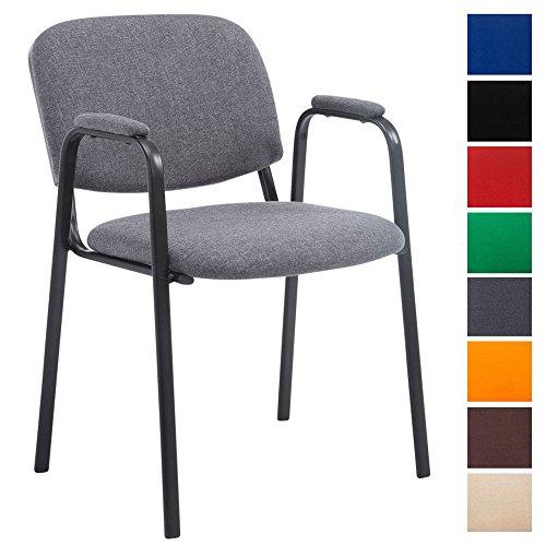 CLP Besucherstuhl Ken Pro Mit Gepolsterter Armlehne Und Stoffbezug I Polsterstuhl Mit Metallgestell, Farbe:grau