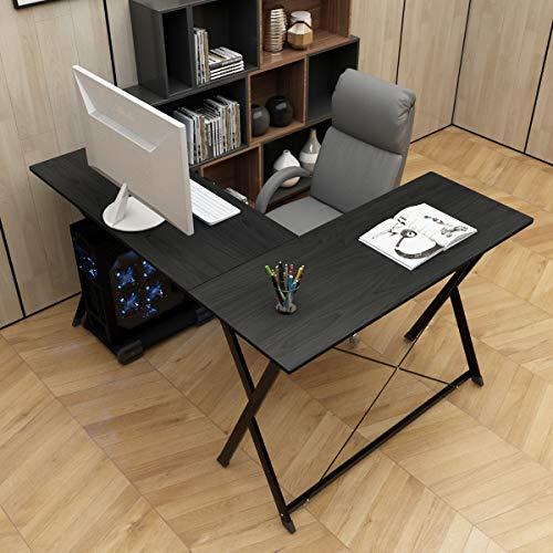 DlandHome L-Förmigen Computer Schreibtisch Eckschreibtisch 120cm + 110cm, Komposit Holz und Metall, Home Office PC Laptop Studie Workstation Ecktisch mit CPU-Ständer, Schwarz & Schwarz
