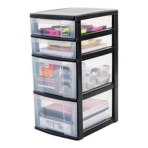 Iris Schubladenschrank / Schubladenbox / Rollwagen / Rollcontainer / Werkzeugschrank New Chest, NMC-322, mit Rollen, Kunststoff, schwarz / transparent, (B x T x H) : 30 x 38 x 62 cm