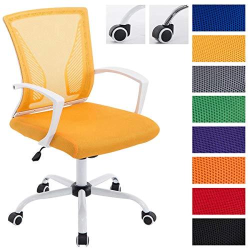 Höhenverstellbarer Bürostuhl Tracy I Ergonomischer Schreibtischstuhl Mit Netzbezug Und Armlehnen und Polsterung, Farbe:gelb, Gestell Farbe:Weiß
